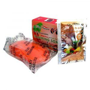 Мыло Silky pleasure для похудения 135 гр в подарок шампунь